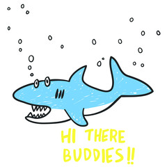 Hand drawn shark vector design for t shirt printing