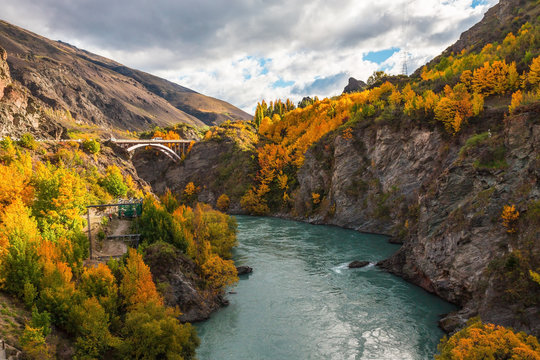 Arch bridge over Kawarau river near Queenstown, New Zealand