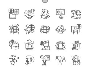 Global Business Well-crafted Pixel Perfect Vector Thin Line Icons 30 2x Grid for Web Graphics and Apps. Simple Minimal Pictogram