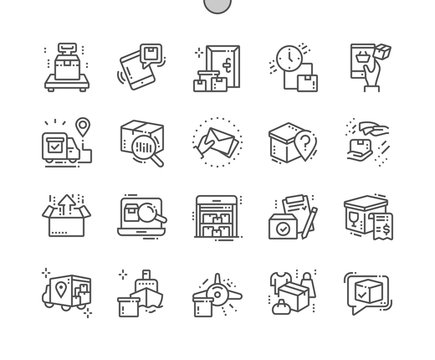 Delivery Well-crafted Pixel Perfect Vector Thin Line Icons 30 2x Grid for Web Graphics and Apps. Simple Minimal Pictogram