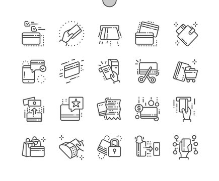 Credit Card Well-crafted Pixel Perfect Vector Thin Line Icons 30 2x Grid for Web Graphics and Apps. Simple Minimal Pictogram