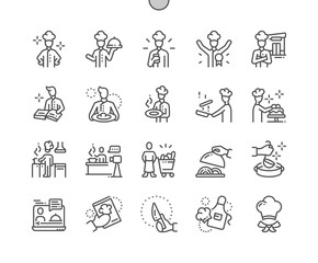 Chef Well-crafted Pixel Perfect Vector Thin Line Icons 30 2x Grid for Web Graphics and Apps. Simple Minimal Pictogram