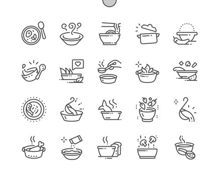 Soup Well-crafted Pixel Perfect Vector Thin Line Icons 30 2x Grid for Web Graphics and Apps. Simple Minimal Pictogram