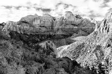 Zion National Park in Black and white landscape , Utah