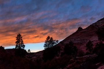 Beautiful silhouette Dawn at Zion National Park, Utah