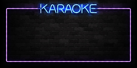 Vector realistic isolated neon sign of Karaoke frame logo for decoration and covering on the wall background. Concept of night club and live music.