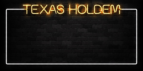 Vector realistic isolated neon sign of Texas Holdem frame logo for decoration and covering on the wall background. Concept of casino and poker rules.
