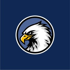 Eagle Head with Blue Background Logo Vector Design, Sign, Icon, Template, Illustration