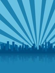 Deep blue city skyline silhouette