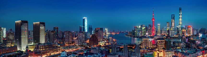 panorama of shanghai skyline at night