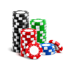 Stack of realistic empty chips for casino or pile of blank 3d gambling tokens. Volumetric heap of money or cash for games like poker and blackjack, roulette. Betting club and gamble, winning theme