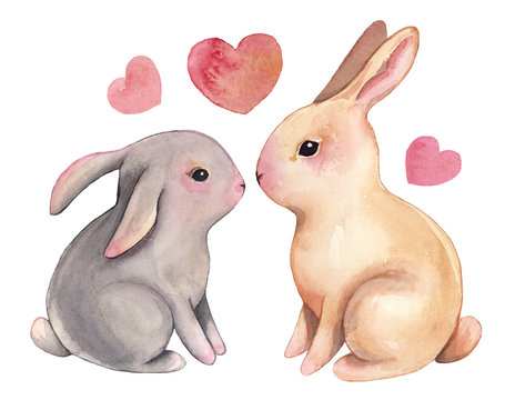 Watercolor bunny clipart illustration love valentine's day