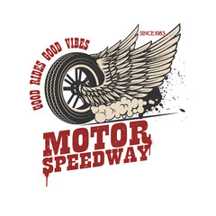 Motor speedway. Racer winged wheel. Design element for poster, emblem, t shirt.