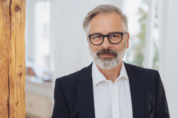 Elegant mature bearded man with glasses