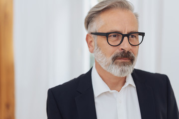 Mature bearded serious man wearing glasses