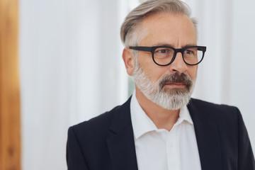 Mature bearded serious man wearing glasses