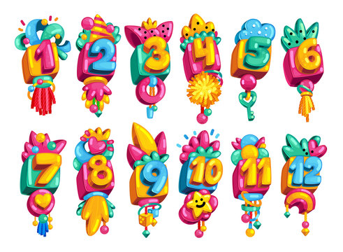 Cartoon toy colored numbers 1-12. Children vector character set