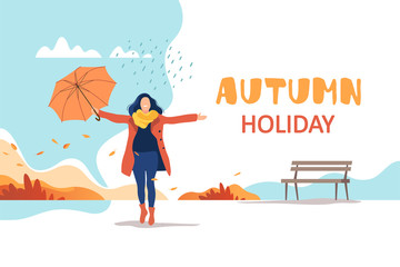 Autumn holiday. Young happy woman with umbrella in a park. Healthy lifestyle and recreation leisure activity. Vector illustration.