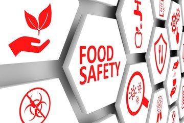 FOOD SAFETY concept cell background 3d illustration