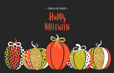 Happy Halloween. Poster with cute glamorous sparkling pumpkin. Vector illustration. Design for greeting cards, invitation, banners, ads, coupons, promotional material.