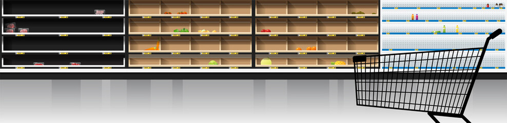 Interior scene of modern supermarket with empty shelves and shopping cart , vector , illustration