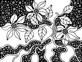 Vector hand drawn black and white illustration with decorative psychedelic tree with branch, leaves, flowers, dots. Cute abstract background. Line drawing.