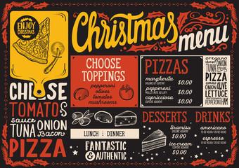 Christmas menu template for pizza restaurant on blackboard.