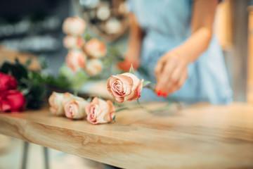 Florist makes rose composition in flower shop
