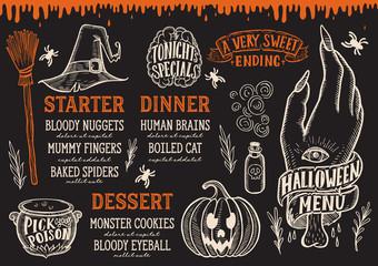 Halloween food menu on a chalkboard.