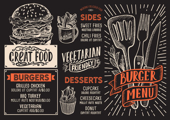 Burger menu food template for restaurant with doodle hand-drawn graphic.