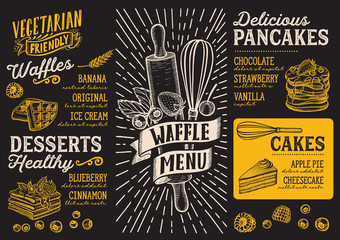 Waffle and pancake menu template for restaurant with doodle hand-drawn graphic.