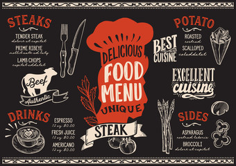 Steak food menu template for restaurant with chefs hat lettering.