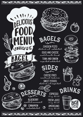 Bagel food menu template for restaurant with chefs hat lettering.