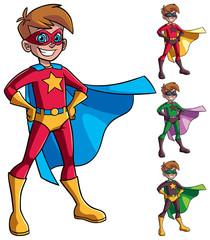 Full length illustration of superhero boy smiling happy while wearing cape and superhero costume.