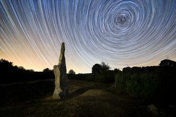 Two hours circumpolar over Itaida menhir in Entzia, Alava, Spain