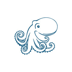Vector blue octopus