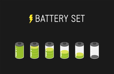 Vector battery illustration. Set of six green icons. From full to empty