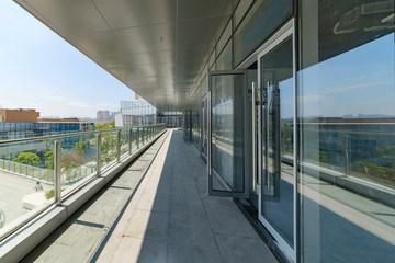 Modern office buildings and buildings with empty concrete square floors