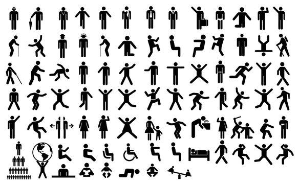 Big set people action pictogram. Black illustration