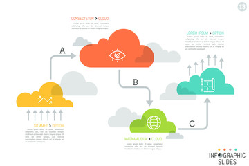 Unusual infographic design template, 4 translucent elements of different size successively connected by arrows. Cloud computing steps concept. Vector illustration for presentation, report, website.