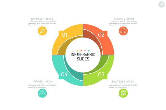 Infographic design layout. Round diagram divided into 4 numbered parts with arrows pointing at text boxes and symbols. Four options of company development concept. Vector illustration for report.