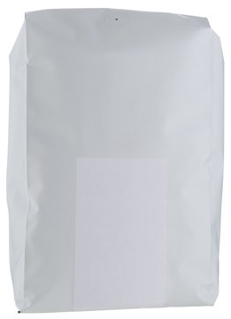 White paper coffee package with blank white sticker isolated on white.