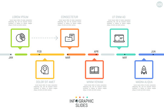 Horizontal timeline with month indication, 6 rectangular elements with pointers, linear pictograms and text boxes. Monthly planning concept. Simple infographic design template. Vector illustration.