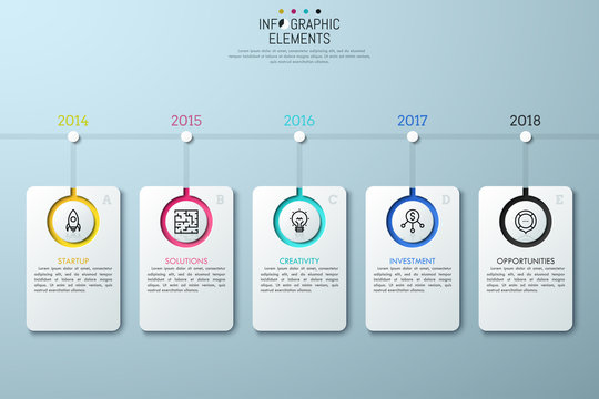 Horizontal timeline with year indication, 5 lettered rectangle elements, linear icons and text boxes. Story of startup development concept. Infographic design layout. Vector illustration for website.