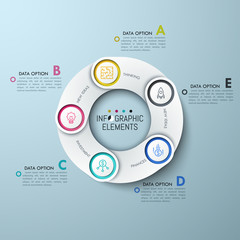 Circular chart with 5 white overlapping elements, thin line icons and lettered text boxes. Five links of production supply chain concept. Creative infographic design layout. Vector illustration.