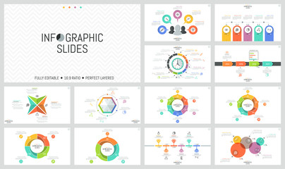 Big bundle of simple infographic design templates. Round charts divided into sectors, horizontal timelines, colorful diagrams with thin line icons and text boxes. Vector illustration for brochure.