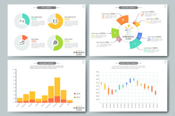 Colorful elements for pie, column and bar charts, sectoral diagrams, stock price graphs. Simple infographic design template. Vector illustration for website, brochure, presentation, statistics report.