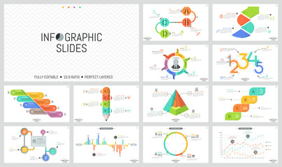 Big set of minimal infographic design templates. Graphs, workflow and bar charts, round and cutaway diagrams with percentage indication. Vector illustration for presentation, report, banner, website.