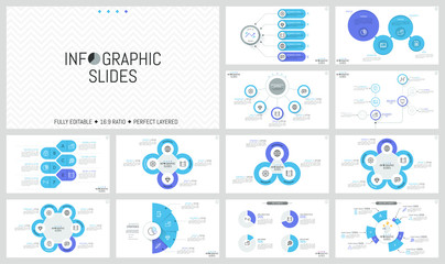 Large bundle of minimal infographic design templates. Diagrams with multicolored round and sectoral elements, thin line icons and text boxes. Vector illustration for presentation, brochure, website.