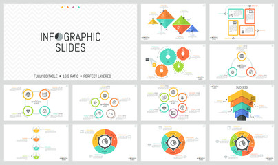Big bundle of simple infographic design templates. Diagrams with round, triangular and rectangular elements, gear wheels, thin line symbols and text boxes. Vector illustration for website, brochure.